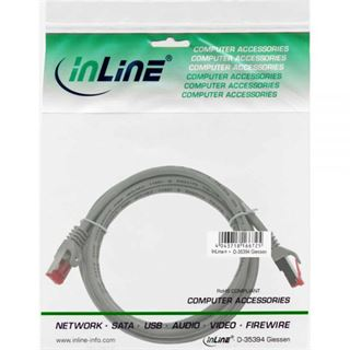 (€7,80*/1m) 0.50m InLine Cat. 6 Patchkabel S/FTP PiMF RJ45 Stecker auf RJ45 Stecker Grau PVC