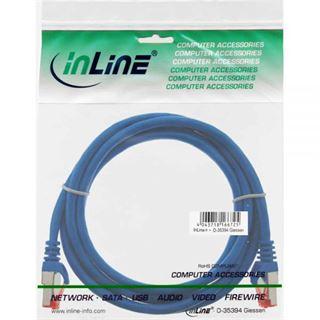 (€13,00*/1m) 0.30m InLine Cat. 6 Patchkabel S/FTP PiMF RJ45 Stecker auf RJ45 Stecker Blau PVC / CCA