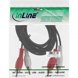 (€0,35*/1m) 20.00m InLine Audio Anschlusskabel 2xCinch Stecker auf 2xCinch Stecker Schwarz