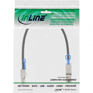 (€173,80*/1m) 0.50m InLine SAS 6Gb/s Anschlusskabel SFF-8644 Stecker auf SFF-8088 Stecker Schwarz