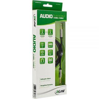 (€4,90*/1m) 1.00m InLine Audio Anschlusskabel 3.5mm Klinken-Stecker auf 3.5mm Klinken-Stecker Schwarz Slim