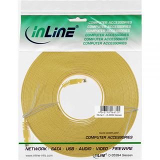 (€0,79*/1m) 10.00m InLine Cat. 6 Patchkabel flach U/UTP RJ45 Stecker auf RJ45 Stecker Gelb