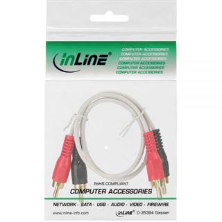 (€4,90*/1m) 1.00m InLine Audio Anschlusskabel 2xCinch Stecker auf 2xCinch Stecker Weiß vergoldet