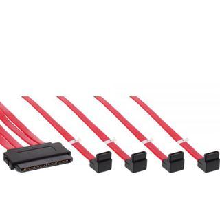 (€29,80*/1m) 0.50m InLine SAS 6Gb/s Adapterkabel gewinkelt SFF-8484 Stecker auf 4xSATA Stecker Schwarz mit Sideband