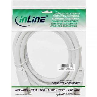 (€0,43*/1m) 5.00m InLine Antenne Anschlusskabel doppelt geschirmt IEC-Stecker auf IEC-Buchse Weiß vernickelt