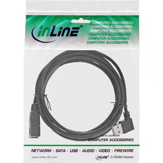 (€2,45*/1m) 2.00m InLine USB2.0 Verlängerungskabel USB A Stecker auf USB A Buchse Schwarz gewinkelt