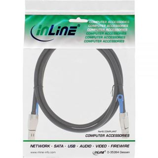 (€55,45*/1m) 2.00m InLine SAS 12Gb/s Anschlusskabel SFF-8644 Stecker auf SFF-8644 Stecker Schwarz