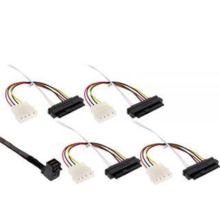 """(€93,80*/1m) 0.50m InLine SAS 6Gb/s Anschlusskabel SFF-8643 Stecker gewinkelt auf SFF-8482 Stecker + 5,25"""" Molex Strom Stecker Schwarz"""