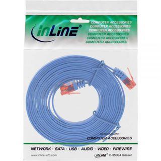 (€0,59*/1m) 15.00m InLine Cat. 6 Patchkabel flach U/UTP RJ45 Stecker auf RJ45 Stecker Blau