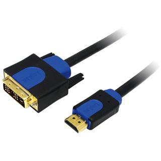 (€1,59*/1m) 10.00m LogiLink HDMI Adapterkabel HDMI-Stecker auf DVI 18+1 Stecker Schwarz/Blau vergoldet