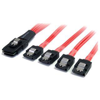 (€55,80*/1m) 0.50m Startech SATA Anschlusskabel SFF-8087 Stecker auf 4xSATA Stecker Rot