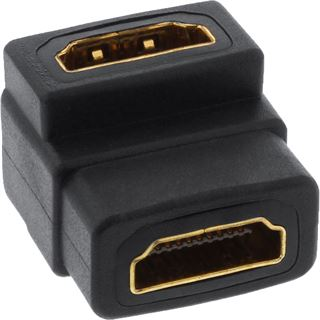 InLine HDMI Adapter HDMI-Buchse auf HDMI-Buchse Schwarz 4K / gewinkelt oben / vergoldet