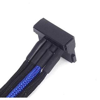 Silverstone 4-Pol-Molex zu 4x SATA Kabel, 300mm - schwarz/blau