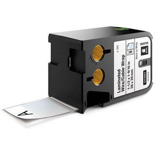 Dymo XTL Vinyl 38x39mm schwarz auf weiß Laminiert 150 Stück