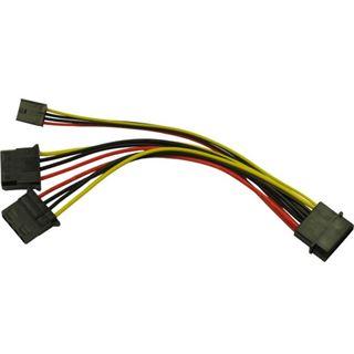 Inter-Tech Adapter 1x 4pin -> 2x 4pin + 1x FDD Molex 0,15m