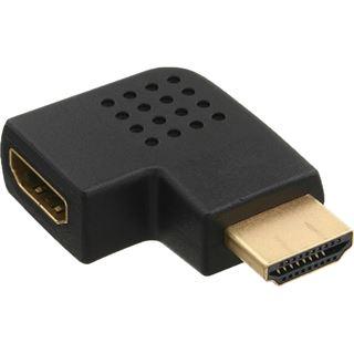InLine HDMI Adapter HDMI-Stecker auf HDMI-Buchse Schwarz 4K / gewinkelt links / vergoldet