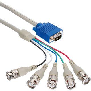 (€9,90*/1m) 1.00m InLine BNC Anschlusskabel VGA 15pol Stecker auf 5xBNC Stecker Schwarz