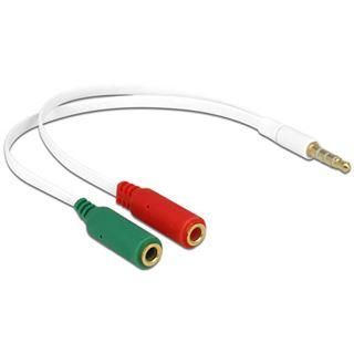 (€24,50*/1m) 0.20m Delock Audio Adapterkabel 3.5mm Klinken-Stecker auf 2x3.5mm Klinke Buchse Stereo Weiß vergoldet