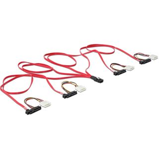 (€23,90*/1m) 1.00m Delock SAS 3Gb/s Verbindungskabel mini SAS 36 Pin auf 4xSFF-8482 Schwarz/Rot/Gelb
