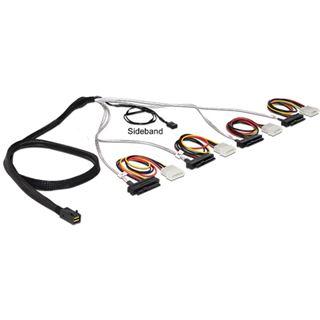 """(€42,90*/1m) 1.00m Delock SAS Anschlusskabel SFF-8087 Stecker auf 4xSFF-8482 + 5,25"""" Molex Strom Stecker Schwarz Sideband"""