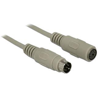 (€0,66*/1m) 15.00m Delock PS/2 Verlängerungskabel PS/2 Stecker auf PS/2 Buchse Grau