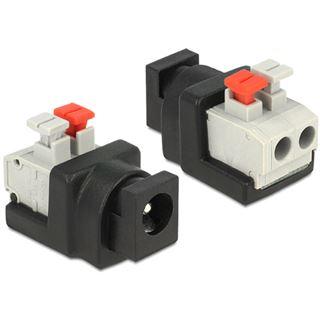 DeLOCK Adapter Terminalblock mit Drucktaste auf DC 2,1 x 5,5 mm