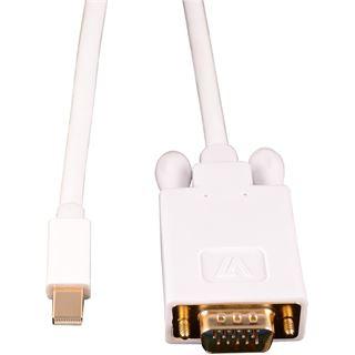 1.80m V7 Displayport Adapterkabel Mini Displayport Stecker auf VGA 15pol Stecker Weiß