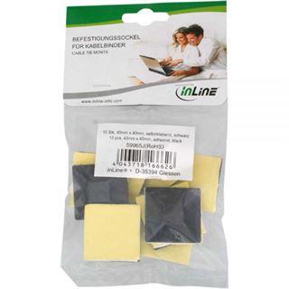 InLine Befestigungssockel für Kabelbinder 40x40mm, selbstklebend schwarz 10 Stück