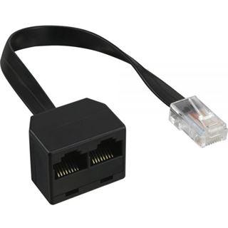 InLine ISDN Verteiler 1x RJ45 St an 2x RJ45 Bu mit Kabel ohne Endwiderstände 4pol. belegt (8P4C)