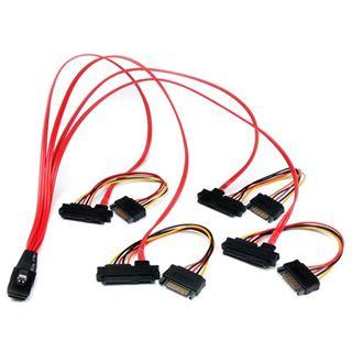 """(€73,80*/1m) 0.50m Startech SAS Anschlusskabel SFF-8087 Stecker auf 4xSFF-8482 + 5,25"""" Molex Strom Stecker Schwarz"""