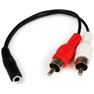 (€46,00*/1m) 0.15m Startech Audio Adapterkabel 3.5mm Klinke Buchse auf 2xCinch Stecker Schwarz