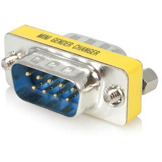 Startech Seriell Mini Gender Changer D-Sub 9pol Stecker auf D-Sub 9pol Stecker Silber