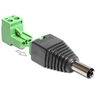 DeLOCK Terminalblock-Adapter, 2,1 x 5,5 mm DC Stecker / 2pol Terminalblock, 2-teilig