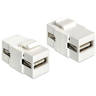 DeLOCK Keystone-Modul, USB 2.0 Buchse A / USB 2.0 Buchse A, weiß