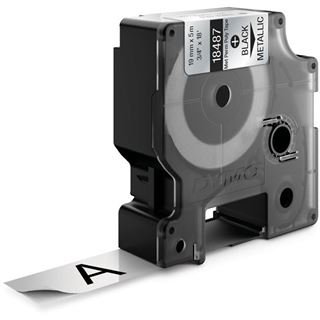 Dymo strapazierfähiges Polyesterband S0718200 / 18762 / 18487 für Rhino Etikettendrucker, 19 mm x 5,5 m, metallisiert