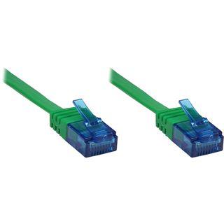 3.00m Good Connections Cat. 6a Patchkabel flach U/UTP RJ45 Stecker auf RJ45 Stecker Grün vergoldet