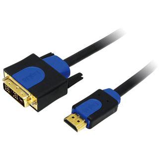 (€2,18*/1m) 5.00m LogiLink HDMI Adapterkabel HDMI-Stecker auf DVI 18+1 Stecker Schwarz/Blau