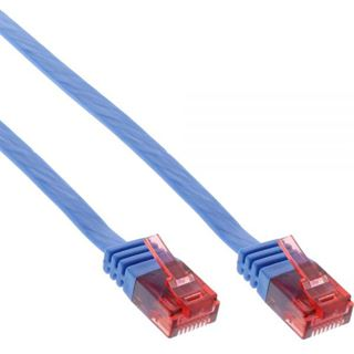 (€1,95*/1m) 2.00m InLine Cat. 6 Patchkabel flach U/UTP RJ45 Stecker auf RJ45 Stecker Blau