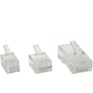 InLine Modularstecker, 6P4C RJ11 zum Crimpen auf Flachkabel, 10er Pack