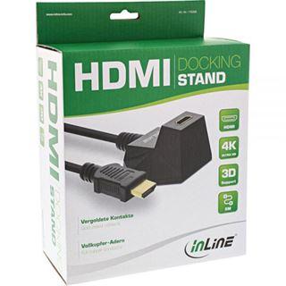 (€3,18*/1m) 5.00m InLine HDMI2.0 Verlängerungskabel High-Speed mit Ethernet HDMI-Stecker auf HDMI-Buchse Schwarz 4K*2K / Standfuß / vergoldet