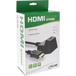 1.00m InLine HDMI2.0 Verlängerungskabel High-Speed mit Ethernet HDMI-Stecker auf HDMI-Buchse Schwarz 4K*2K / Standfuß / vergoldet