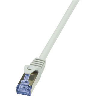 (€15,60*/1m) 0.25m LogiLink Cat. 6a Patchkabel S/FTP PiMF RJ45 Stecker auf RJ45 Stecker Grau AWG26