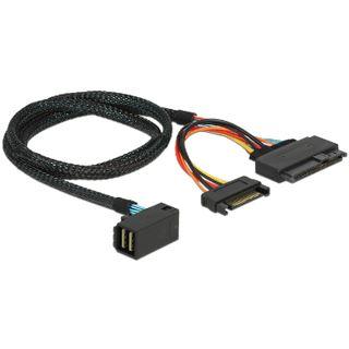 0.75m Delock SAS Anschlusskabel gewinkelt SFF-8643 Stecker auf SFF-8639 Stecker + Strom Schwarz