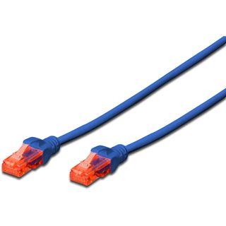 (€9,80*/1m) 0.50m Digitus Cat. 6 Patchkabel U/UTP RJ45 Stecker auf RJ45 Stecker Blau Knickschutzelement
