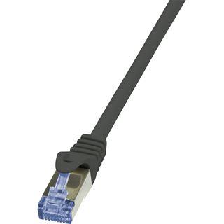 (€15,60*/1m) 0.25m LogiLink Cat. 6a Patchkabel S/FTP PiMF RJ45 Stecker auf RJ45 Stecker Schwarz halogenfrei / Twisted Pair
