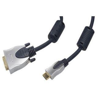 (€6,60*/1m) 1.50m ShiverPeaks VGA Adapterkabel DVI 24+1 Stecker auf HDMI-Stecker Schwarz Ferritkern / verchromt
