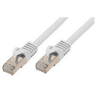(€9,80*/1m) 0.50m ShiverPeaks Cat. 7 Rohkabel Patchkabel S/FTP PiMF RJ45 Stecker auf RJ45 Stecker Weiß halogenfrei / vergoldet
