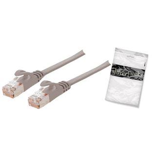 (€3,45*/1m) 2.00m ShiverPeaks Cat. 7 Rohkabel Patchkabel RJ45 Stecker auf RJ45 Stecker Grau flach / Klinkenschutz