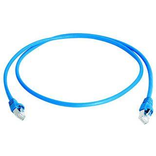 (€15,80*/1m) 0.50m Telegärtner Cat. 6a Patchkabel S/FTP PiMF RJ45 Stecker auf RJ45 Stecker Blau halogenfrei / Knickschutzelement