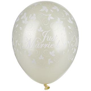 """PAPSTAR Luftballons """"Just Married"""", elfenbein metallic"""